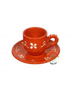 Chávena de Barro Decorada com Pires para Café